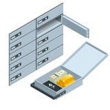Compartiments de coffre-fort 2 Ouvrez le compartiment de coffre-fort avec les lingots d'or Concept financier d'investissement d'o illustration de vecteur