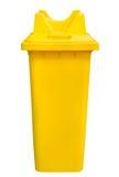 Compartimiento amarillo de la basura, aislado Foto de archivo libre de regalías