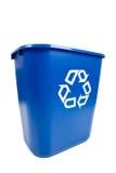 Compartimiento azul de Recucle - reciclando, tema ambiental Foto de archivo