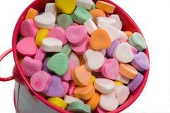 Compartimiento de los corazones de la tarjeta del día de San Valentín del caramelo - primer Fotografía de archivo libre de regalías