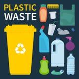 Compartimiento de los desperdicios para reciclar la basura del plástico Ilustración del vector stock de ilustración