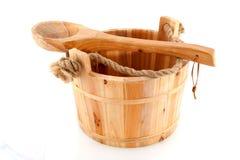 Compartimiento de madera de la sauna Imagen de archivo