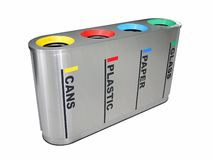 Compartimiento de reciclaje colorido Fotografía de archivo