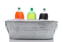 Compartimiento del partido con las botellas de soda Imágenes de archivo libres de regalías