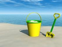Compartimiento y espada en la playa Ilustración del Vector