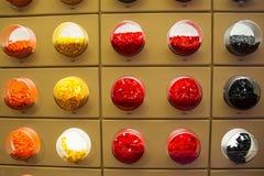Compartimientos circulares del lego Foto de archivo libre de regalías
