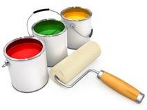 Compartimientos con la pintura y el nuevo rodillo para la pintura ilustración del vector