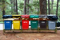Compartimientos de basura Foto de archivo libre de regalías