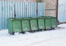 Compartimientos de basura por la calle Fotografía de archivo libre de regalías