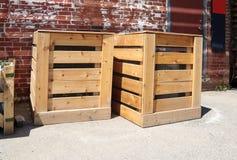 Compartimientos de estiércol vegetal de madera Imagen de archivo libre de regalías