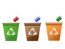 Compartimientos de reciclaje Imagen de archivo libre de regalías