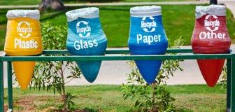 Compartimientos de reciclaje foto de archivo libre de regalías