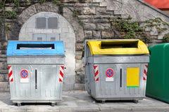 Compartimientos de reciclaje Imagenes de archivo
