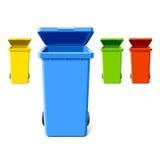 Compartimientos de reciclaje coloridos Imágenes de archivo libres de regalías