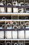 Compartment of rolled up fire hoses on a fire truck Royalty Free Stock Image