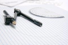 Compas avec le demi-cercle Image libre de droits