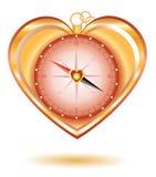 Compas d'or d'amour Photographie stock libre de droits
