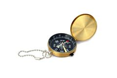 Compas d'or d'isolement Photo stock