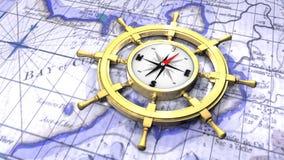 Compas dans la roue d'un bateau Photo libre de droits