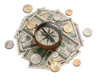 Compas de management de stratégie d'argent Image stock
