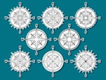 Compas uppsättningklistermärkear Royaltyfri Foto