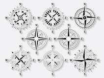 Compas uppsättningvit och skugga Arkivfoton