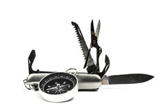 Compas and Utility knife Royalty Free Stock Images