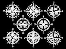 Compas vastgesteld wit Stock Afbeelding