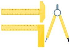 Compases de gráfico con la regla Fotos de archivo libres de regalías