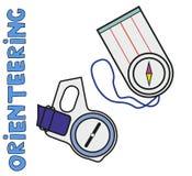 Compases de los deportes orienteering Plano, Fotografía de archivo libre de regalías