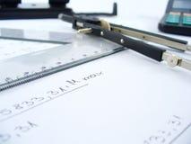 Compases y regla fotografía de archivo libre de regalías
