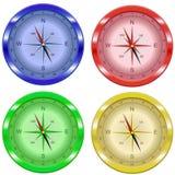 Compass желтый цвет зеленого цвета голубого красного цвета комплекта 4 цветов Стоковая Фотография RF