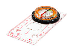 Compass. With a transparent ruler on a white background Stock Image