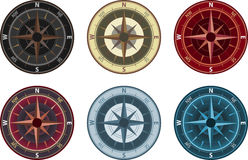 Compass. Illustration of compass in 6 color variation Royalty Free Stock Images