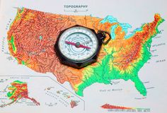 Compass. An original Boy Scouts of America compass on a map of the continental United States Stock Image