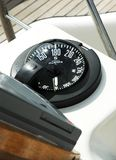 Compass. On sailboat.  Modern navigation device Royalty Free Stock Photo
