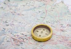 Compass. And map of Malta Stock Image