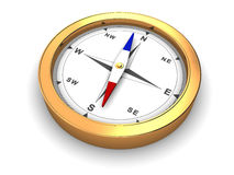 Compass. 3d illustration of golden metal compass over white background Stock Photography