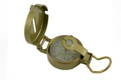 Compass. Angled view of navigational compass with east and west symbols showing Stock Photography
