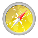 Compass. Yellow Compass on a white background Stock Image