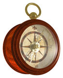 Compass. A classic, wooden nautical compass with gold trim. Isolated on white Royalty Free Stock Photo