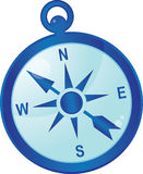 Compass. In blue color with indexes of parts of the world Royalty Free Stock Photo