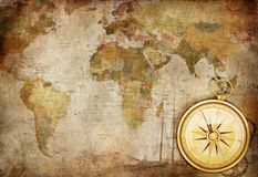 Compass. Old Paper Texture with Retro Styled Compass, and Map Royalty Free Stock Photography