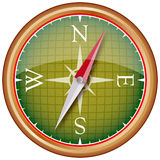 Compass. Green and gold reflective compass Royalty Free Stock Image