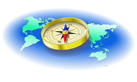 Compass. Compass on a map of the globe is shown in the picture Stock Photo