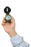 Compass. Business man holding compass on hand Royalty Free Stock Images