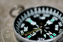 Compass. Photo compass with closeup lens stock images