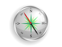 Compass. Shiny compass with V from vest notation for west for romanian, icelandic, novegian, danish etc. language Royalty Free Stock Photo
