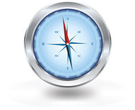 Compass. With blue rose, silver case Royalty Free Stock Image
