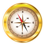 Compass. With a golden frame Stock Photography